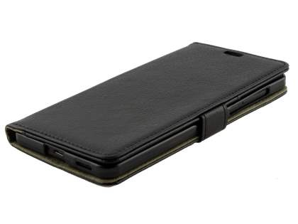 Synthetic Leather Wallet Case with Stand for Nokia 6 - Classic Black