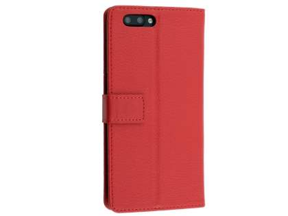 Slim Synthetic Leather Wallet Case with Stand for Oppo R11 - Red Leather Wallet Case