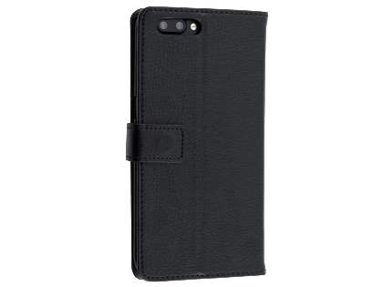 Slim Synthetic Leather Wallet Case with Stand for Oppo R11 - Classic Black Leather Wallet Case