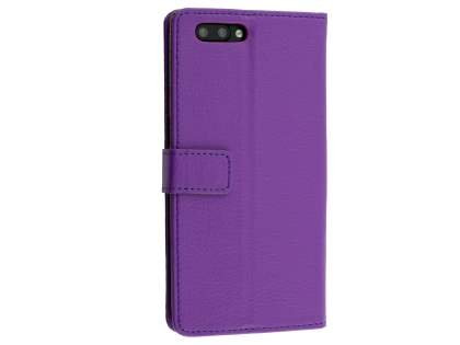 Slim Synthetic Leather Wallet Case with Stand for Oppo R11 - Purple Leather Wallet Case