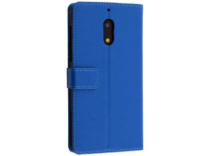 Synthetic Leather Wallet Case with Stand for Nokia 6 - Blue Leather Wallet Case