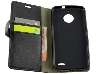 Slim Synthetic Leather Wallet Case with Stand for Motorola Moto E4 - Classic Black