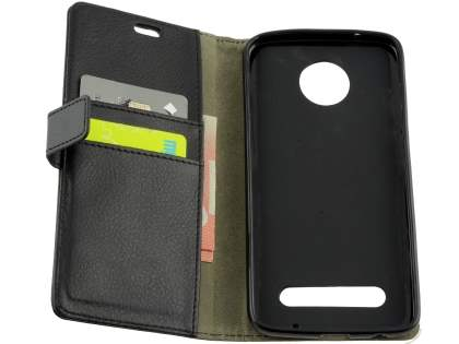 Slim Synthetic Leather Wallet Case with Stand for Motorola Z2 Play - Classic Black