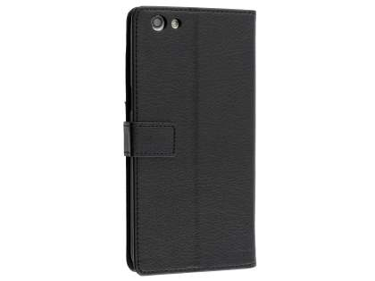 Slim Synthetic Leather Wallet Case with Stand for Oppo A77 - Classic Black Leather Wallet Case