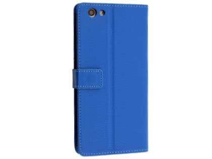 Slim Synthetic Leather Wallet Case with Stand for Oppo A77 - Blue Leather Wallet Case