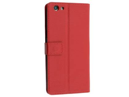 Slim Synthetic Leather Wallet Case with Stand for Oppo A77 - Red Leather Wallet Case