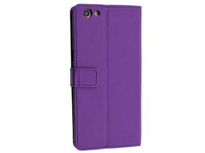 Slim Synthetic Leather Wallet Case with Stand for Oppo A77 - Purple Leather Wallet Case
