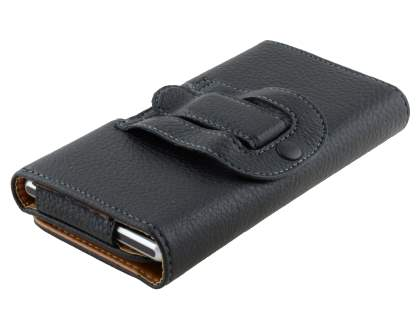Textured Synthetic Leather Belt Pouch - Classic Black