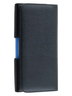Textured Synthetic Leather Belt Pouch for HTC One X10 (Bumper Case Compatible) - Classic Black