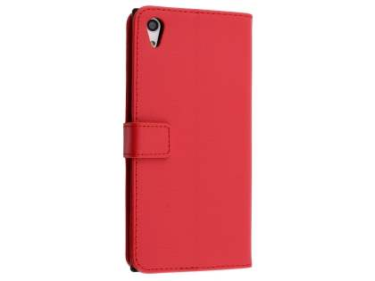 Slim Synthetic Leather Wallet Case with Stand for Sony Xperia XA1 Ultra - Red Leather Wallet Case