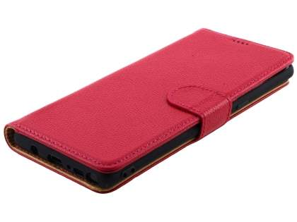 Top Grain Leather Wallet Case with Stand for Samsung Galaxy Note8 - Coral