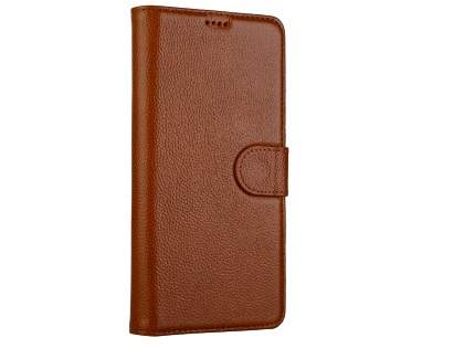 Top Grain Leather Wallet Case with Stand for Samsung Galaxy Note8 - Brown Leather Wallet Case