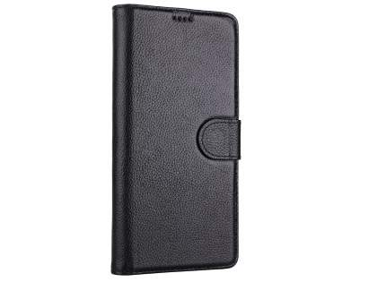 Top Grain Leather Wallet Case with Stand for Samsung Galaxy Note8 - Black Leather Wallet Case