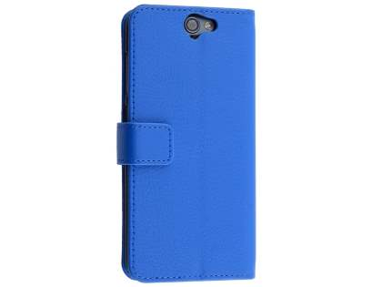 Synthetic Leather Wallet Case with Stand for HTC Telstra Signature Premium - Blue Leather Wallet Case