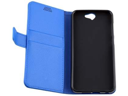 Synthetic Leather Wallet Case with Stand for HTC Telstra Signature Premium - Blue