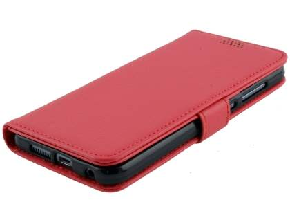 Synthetic Leather Wallet Case with Stand for HTC Telstra Signature Premium - Red