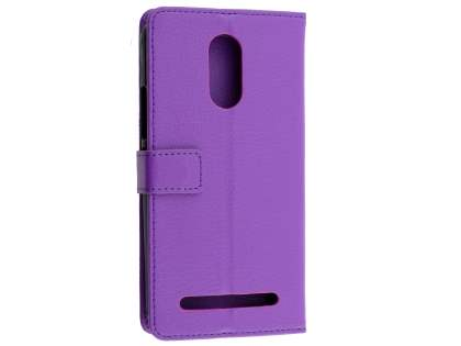 Synthetic Leather Wallet Case with Stand for Telstra 4GX Premium - Purple Leather Wallet Case