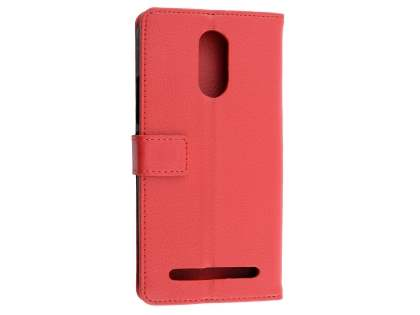 Synthetic Leather Wallet Case with Stand for Telstra 4GX Premium - Red Leather Wallet Case