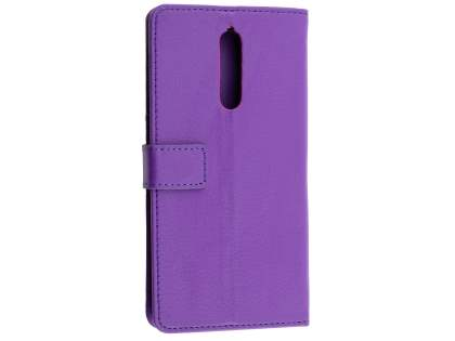 Synthetic Leather Wallet Case with Stand for Nokia 8 - Purple Leather Wallet Case