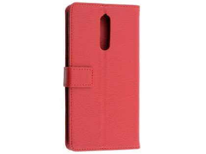 Synthetic Leather Wallet Case with Stand for Nokia 8 - Red Leather Wallet Case