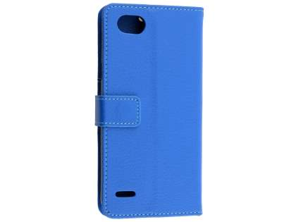 Synthetic Leather Wallet Case with Stand for LG Q6 - Blue Leather Wallet Case