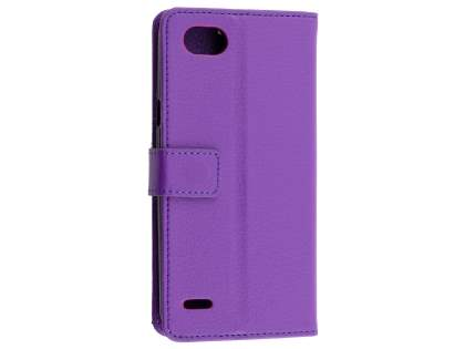 Synthetic Leather Wallet Case with Stand for LG Q6 - Purple Leather Wallet Case