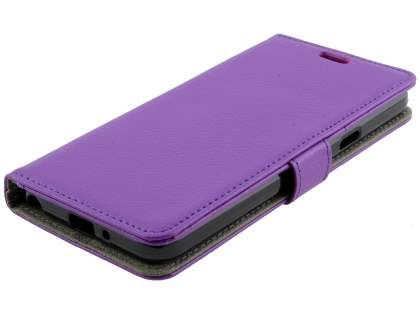 Synthetic Leather Wallet Case with Stand for LG Q6 - Purple