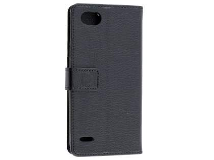 Synthetic Leather Wallet Case with Stand for LG Q6 - Black Leather Wallet Case