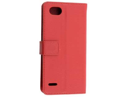 Synthetic Leather Wallet Case with Stand for LG Q6 - Red Leather Wallet Case