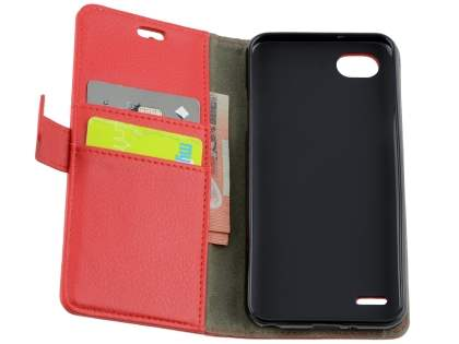 Synthetic Leather Wallet Case with Stand for LG Q6 - Red
