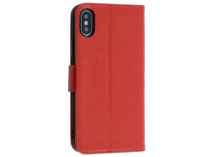 Premium Leather Wallet Case with Stand for Apple iPhone Xs/X - Red Leather Wallet Case