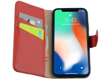 Premium Leather Wallet Case with Stand for Apple iPhone X - Red