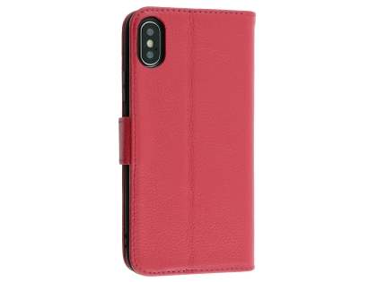 Premium Leather Wallet Case with Stand for Apple iPhone Xs/X - Pink Leather Wallet Case
