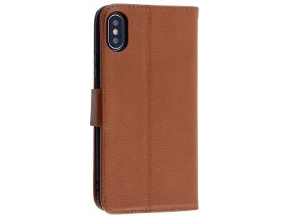 Premium Leather Wallet Case with Stand for Apple iPhone Xs/X - Brown