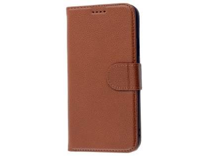 Premium Leather Wallet Case with Stand for Apple iPhone X - Brown Leather Wallet Case