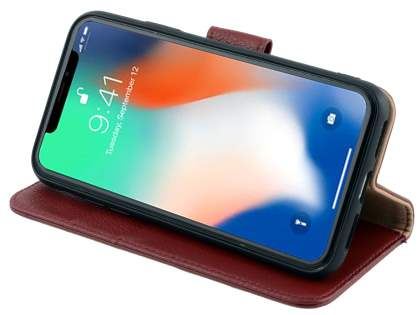 Premium Leather Wallet Case with Stand for Apple iPhone Xs/X - Rosewood