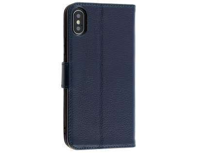 Premium Leather Wallet Case with Stand for Apple iPhone Xs/X - Midnight Blue Leather Wallet Case