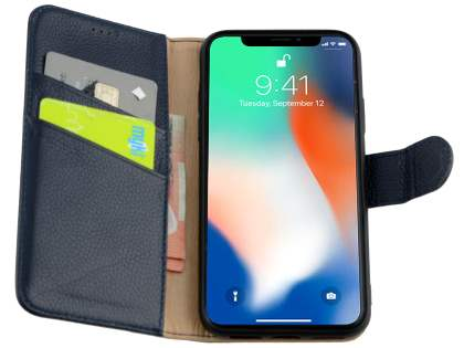 Premium Leather Wallet Case with Stand for Apple iPhone Xs/X - Midnight Blue