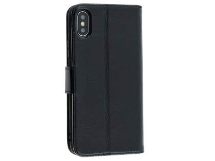 Premium Leather Wallet Case with Stand for Apple iPhone Xs/X - Black Leather Wallet Case