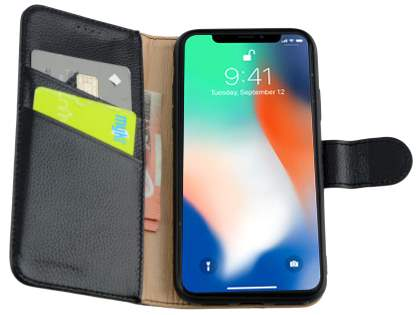 Premium Leather Wallet Case with Stand for Apple iPhone Xs/X - Black