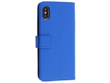 Synthetic Leather Wallet Case with Stand for Apple iPhone Xs/X - Blue Leather Wallet Case