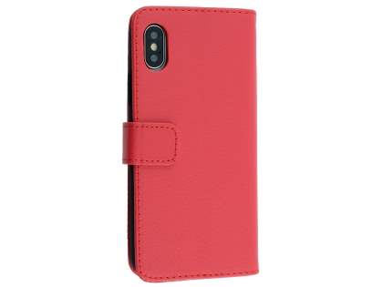 Synthetic Leather Wallet Case with Stand for Apple iPhone Xs/X - Red Leather Wallet Case