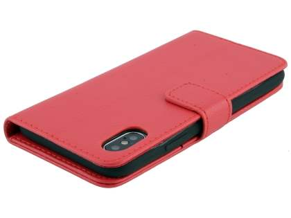 Synthetic Leather Wallet Case with Stand for Apple iPhone Xs/X - Red