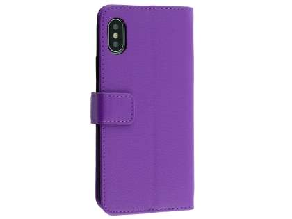 Synthetic Leather Wallet Case with Stand for Apple iPhone Xs/X - Purple Leather Wallet Case