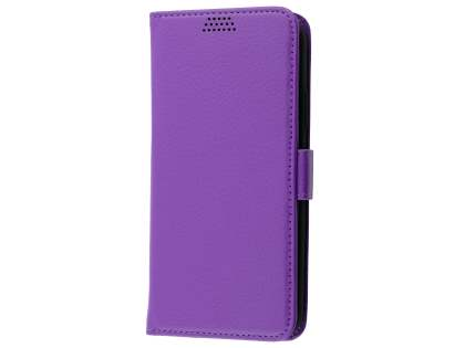 Synthetic Leather Wallet Case with Stand for Apple iPhone Xs/X - Purple