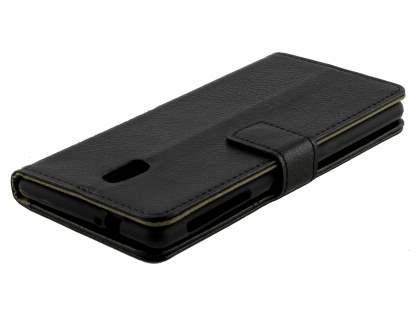 Synthetic Leather Wallet Case with Stand for Nokia 3 - Classic Black