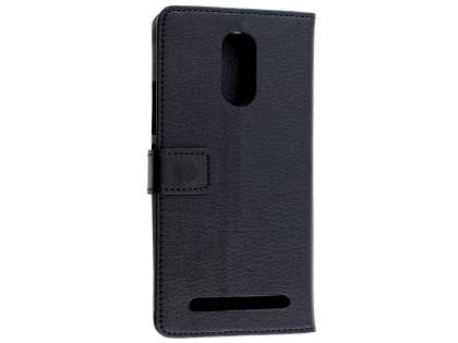 Synthetic Leather Wallet Case with Stand for Telstra 4GX Premium - Classic Black Leather Wallet Case