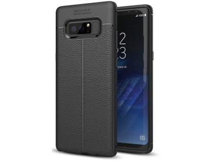 Leather Look Gel Case for Samsung Galaxy Note8 - Black Soft Cover