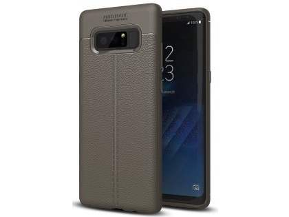 Leather Look Gel Case for Samsung Galaxy Note8 - Dark Grey Soft Cover