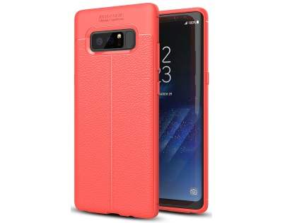 Leather Look Gel Case for Samsung Galaxy Note8 - Fluorescent Coral Soft Cover